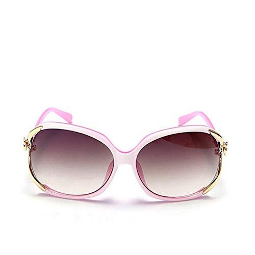 WDDYYBF Sonnenbrillen, Weibliche Mode Übergrosse Sonnenbrille Frauen Rahmen Kunststoff Sonnenbrille Outdoor Reisen Fahren Sonnenbrillen Brillen Uv400 Rosa Rahmen Gold Rim Farbverlauf Braun Linse
