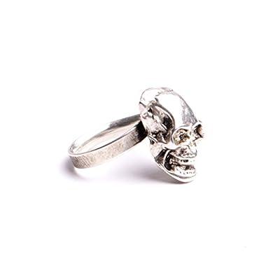 Bague tête de mort hommes femmes anneau laiton ajustable bijou d'artiste fait à la main création made in France.