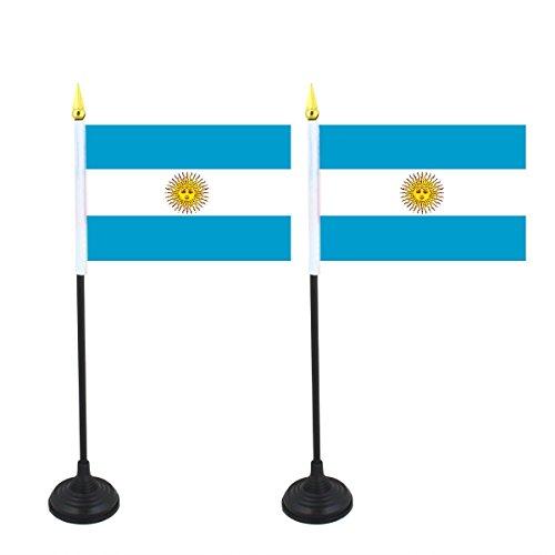 Sonia Originelli 2er SET Mini Fahne Flagge Länder Fan WM Fußball inkl. Halter Farbe Argentinien