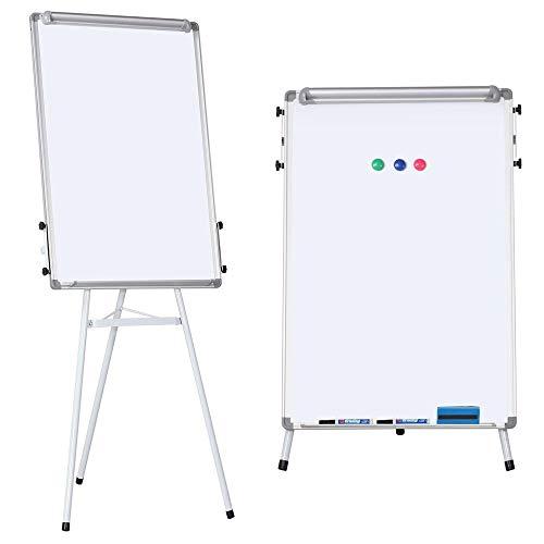 Yaheetech Chevalet de Conférence Télescopique Tableau Blanc Effaçable Magnétique - Hauteur Réglable - Portable - 91 x 61cm