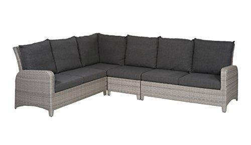 Gartenbank 5 Sitzer aus Polyrattan Geflecht grau inkl. Kissen in anthrazit. Die Loungebank ist wetterfest, ideal für Garten, Terrasse und Balkon.