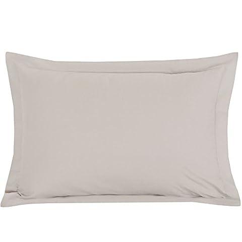 Plain Dyed 100% Cotton Percale Oxford Pillowcases - Stone