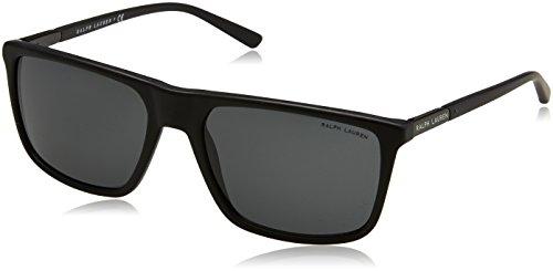 Ralph lauren 0rl81615387, occhiali da sole uomo, nero (sandblast black/darkgrey), 58