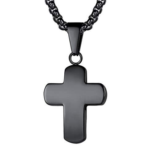 FaithHeart Kreuz Kette Herren Anhänger Halskette für Frauen Männer Edelstahl mit Heiligen Christlich Unisex für Getreuen -