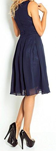 Zeta Ville - Damen Skaterkleid mit Empire-Taille Chiffon Kleid Ärmeloses - 253z Marine