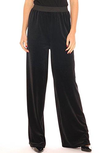 Pantalone a palazzo donna elegante in ciniglia Nero