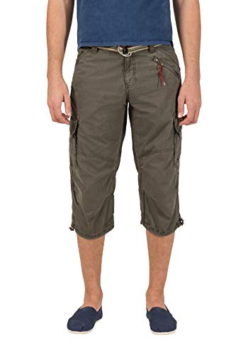 Canvas-loose-fit-jeans (Timezone Herren Shorts Loose Miles 3/4 Cargo incl. Belt, Grün (washed oliv 4064), W32)