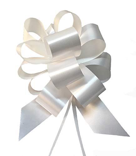 Juego de 50 lazos grandes blancos de 5cm, ideal para bodas: decoración del coche de los novios