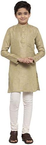 NEUDIS by Dhrohar Silk Blend Long Kurta & Churidar Pajama Set For Boys - G