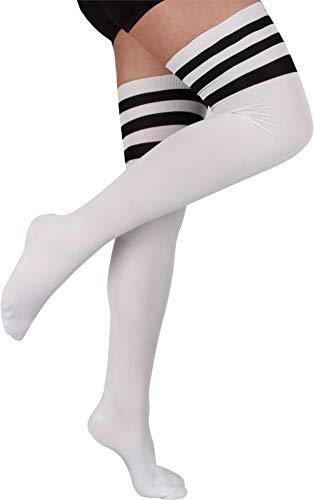 Sexy Über Die Knie-socken (normani 2 Paar Overknees in gestreift oder einfarbig - Bunte Socken bis übers Knie für Damen Farbe American Weiß/Schwarz)