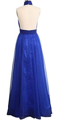 MACloth Women High Neck Tulle Sexy Long Prom Dress Wedding Party Evening Gown Grau
