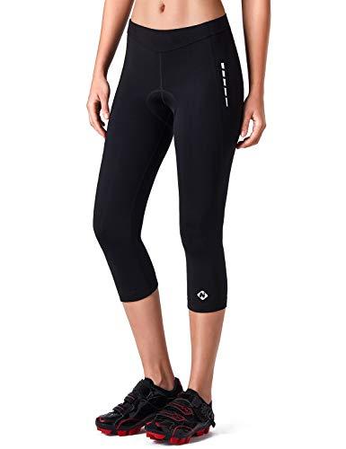 NAVISKIN Damen 3/4-Radhose Radtights Cycling Tights Rennrad Pants Frauen-Sitzpolster Fahrradhose schwarz