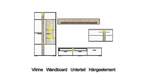 4-tlg. Wohnwand mit Korpus in weiß glänzend, Fronten in weiß Hochglanz und Absetzungen in Sonoma Eiche-hell-Nb., Maße: B/H/T ca. 331/202/54 cm - 4
