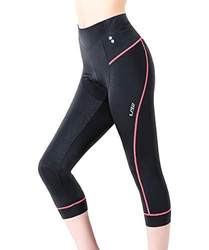 Swallow 3/4 Gepolsterte Damen Radlerhosen Damen Radsport Shorts Radsportbekleidung MTB Damen Radsportbekleidung (Rosa, Large)