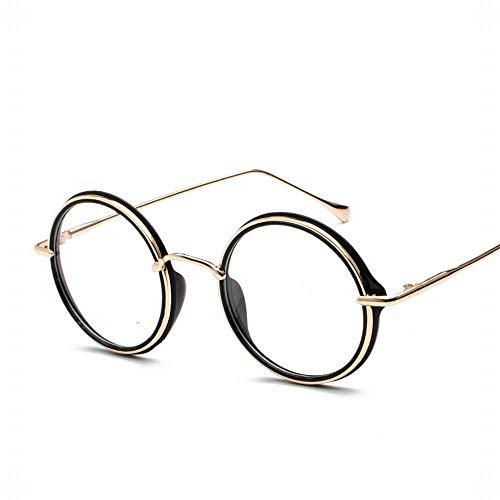 Yiph-Sunglass Sonnenbrillen Mode Frauen und Männer Runde Full Frame Vintage Metall Flat Mirror Glasses Frame. (Farbe : Black-2)