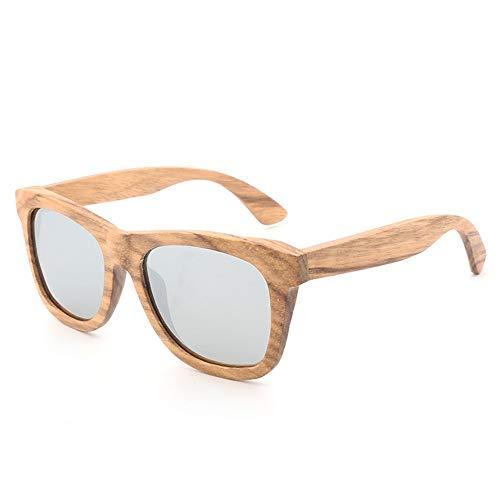 Ruanyi Neue Bambus handgefertigt Sonne Retro Holz Brille Farbfilm polarisierten Sonnenbrillen Männer und Frauen mit der gleichen Mode Sonnenbrillen Siamese (Color : Silver)