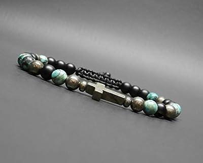 Bracelet homme, croix en pyrite, pierres naturelles, turquoise africaine, onyx noir mat, pyrite Ø 6 mm