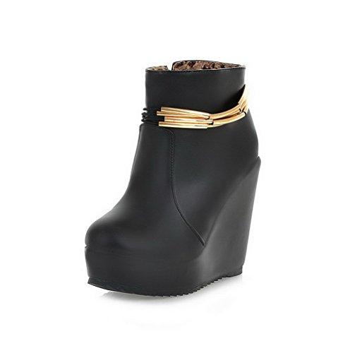AllhqFashion Damen Schließen ZeheHoher Absatz Reißverschluss Stiefel mit Metallisch Schwarz