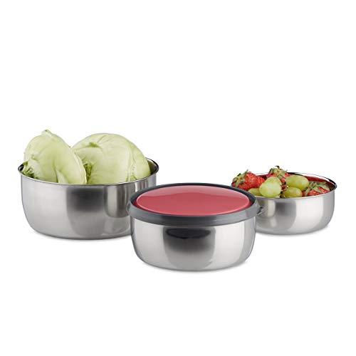 Relaxdays 10020837_47 set di ciotole con coperchio 3 pz diverse misure scodelle in acciaio inox da cucina, pic-nic rosso