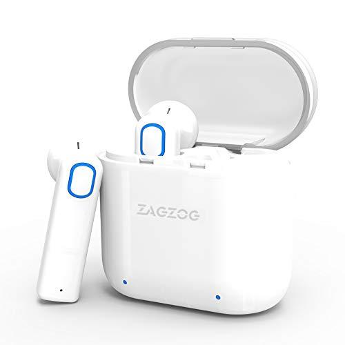 Zagzog Auriculares Bluetooth Inalámbricos Mini Manos Libres Estéreo de Alta Fidelidad Micrófono Incorporado y Cancelación de Ruido CVC6.0 Cargador Portátil Compatible con Iphone/Android  Blanco
