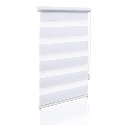Eurohome Doppelrollo Klemmfix ohne Bohren, Duo Rollo,65cm x 150cm (Stoffbreite 61 cm) weiß Transparentes und undurchsichtiges Sichtschutz Rollo mit Klemmträgern für Fenster