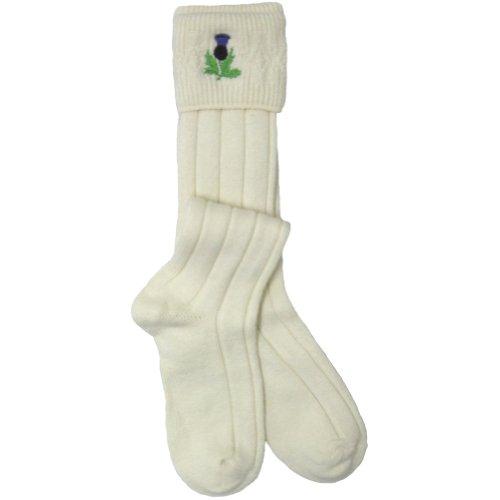 W. Brewin Kiltstrümpfe/Socken mit schottischer Distel - Natur -