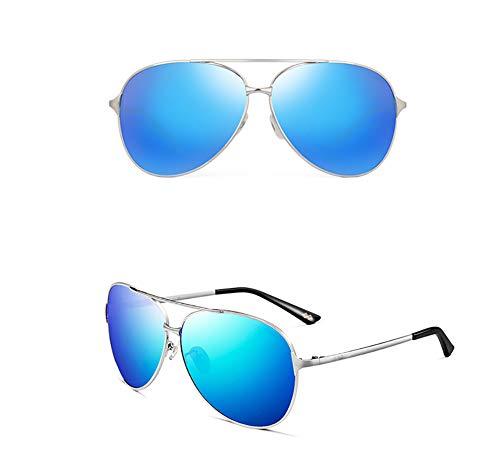 Herren Hipster-Sonnenbrille, polarisiert, Frosch, Spiegel, Fahrerspiegel, für Herren, polarisierte Fahrer-Sonnenbrille, Outdoor-Sport-Sonnenbrille, Ultraleichter Rahmen aus Legierung, Washblue, Größe