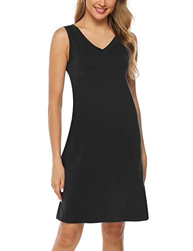 Aibrou Damen Einfarbige Nachthemd Ärmellose Nachtkleid Sommer Strandkleid Knielang Sleepwear mit V-Ausschnitt Schwarz M - Sommer Nachthemd