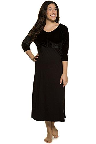 Ulla Popken Damen große Größen bis 58+ | Kleid | Langarm, Rundhals, lang | Büste, Stretch, Viskose | schwarz, Samt | schwarz 58/60 713295 10-58+ (Haus Kleid)