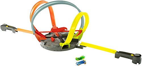 Hot Wheels FDF26 - Action Mega Looping Crashbahn rotierendes Trackset, Roto Revolution -