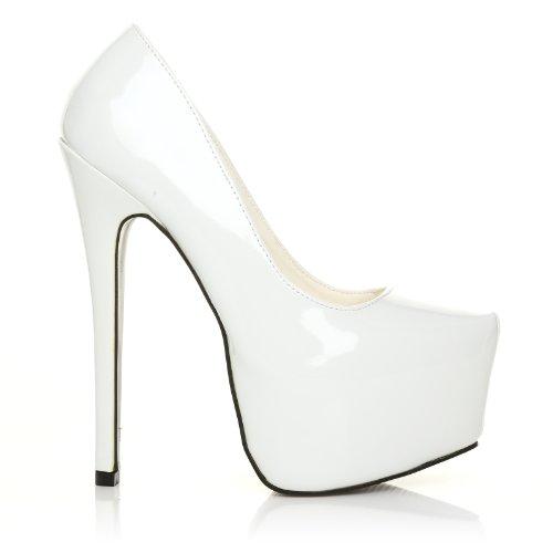Scarpe con tacco a stiletto molto alto e Plateaux Decollete, In Ecopelle Effetto Vernice Bianco, DONNA Vernice Bianca