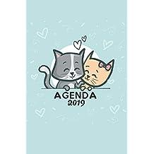 Agenda 2019: Agenda Mensual y Semanal + Organizador I Cubierta con tema de Gatos Enero
