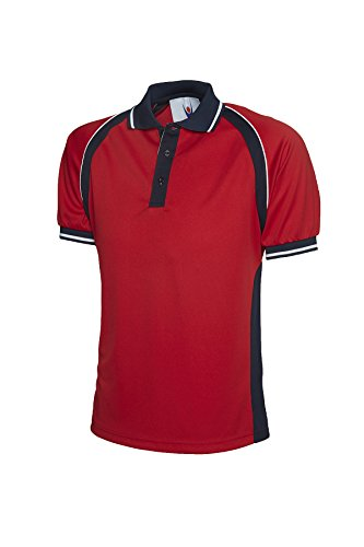 Sport Kontrast Polo Short Sleeve Atmungsaktiv Casual Freizeit getapte Hals Mehrfarbig - Red / Navy