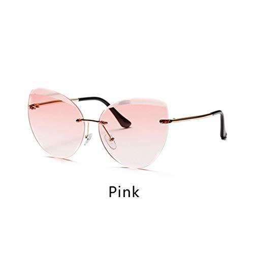 FGRYGF-eyewear2 Sport-Sonnenbrillen, Vintage Sonnenbrillen, NEW Sunglasses Women Cat Eye Rimless Sun Glasses UV400 Gray Gradient Shades Eyewear Accessories Female Oculo W2299 Pink