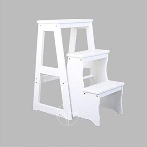 Hocker Stuhl Schritt (Brisk-- Einfaches Zuhause Klappstühle Doppelnutzen Massivholz Tritt Hocker Innen Vier Schritte Leiter Stuhl Multifunktion Treppenhocker Kiefer Bewegen Tritt Hocker ( Farbe : Weiß , größe : 3 layers ))
