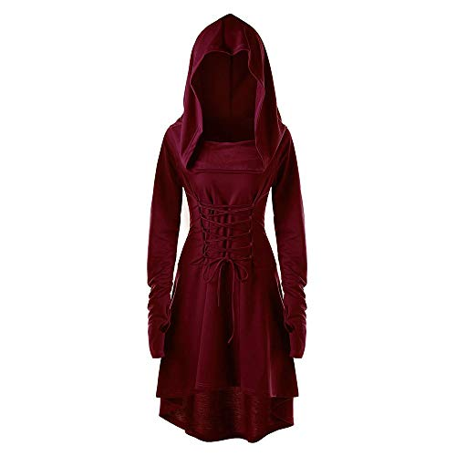 OYSOHE Cape Bandage Longue Robe Femmes Costumes Vintage Pull High Low Lace Up Hooded