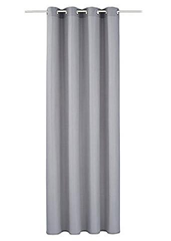 1er-Pack Gardine Mikrofaser Vorhänge Halb-bickdicht Vorhang (BxH 140x225cm, grau mit ösen)