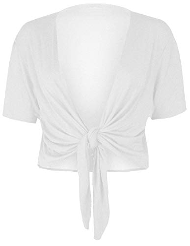 Crazy Girls Womens Damen Cap Sleeve Krawatte vorne abgeschnitten Bolero Shrug Crop Strickjacke Top EU 36-54 (44/46, Sahne) - Cap Sleeve Shrug