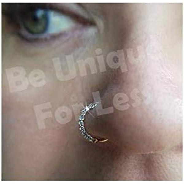 Diamante Bohani Seam Ring Nose Ring Hoop Stud Sparkly Crystal Nose