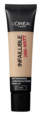 L'Oréal Paris Infaillible 24H-Matt in Nr. 20 Sand, langanhaltendes Flüssig-Make-up mit hoher Deckkraft, 35 ml -
