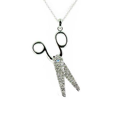 Body Bling Halskette mit Schere versilbert Glaskristall -