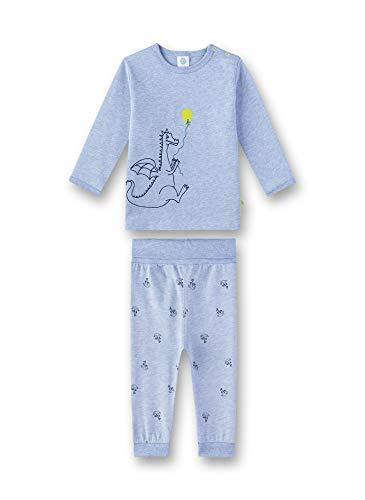 Sanetta Baby-Jungen Pyjama Zweiteiliger Schlafanzug, Blau (Oxford Mel 50252), 98 (Herstellergröße: 098)