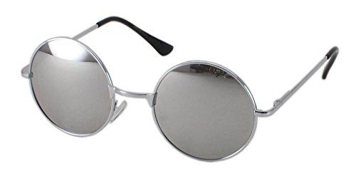 Ultra Silver Gerahmte Gläser mit Silbernen Spiegellinsen Erwachsene Retro Runde Sonnenbrillen Stil John Lennon Vintage Look Qualität UV400 Elton Brillen Männer Frauen Klassische Unisex-Brillen