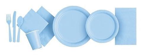 Assiette Papier Jetable Rond Lot De 16 Bleu Pâle 23cm
