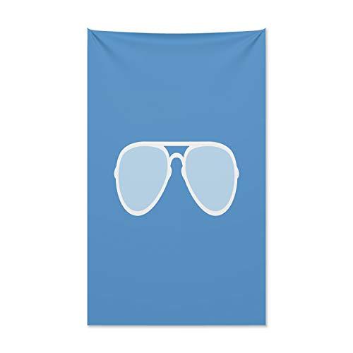 ABAKUHAUS Vintage Blue Wandteppich und Tagesdecke, Aviator Sonnenbrille aus Weiches Mikrofaser Stoff Kein Verblassen Klare Farben Waschbar, 140 x 230 cm, Weiß und Blau