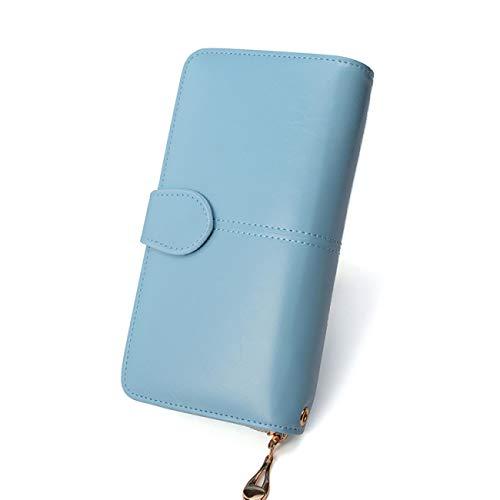 Leder Tri-fold Brieftasche (FDWVGR&JN Damen Brieftasche Damen Geldbörse Damen Leder Brieftasche Lange Trifold Geldbörse Kartenhalter Geld Kupplung Armband Multifunktions Reißverschluss, Hellblau)