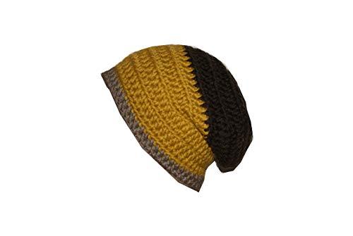 Große Beanie Mütze Männer gelb-braun