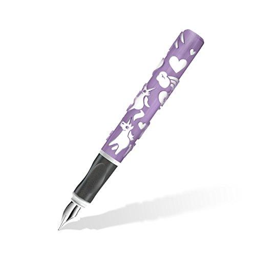 Staedtler Füller Einhorn mit spürbar erhabenen Motiven aus dem 3D-Drucker, für Rechtshänder mit speziell angepasster A-Feder, zauberhafte Einhorn-Magie in Pastellfarben Violett und Weiß