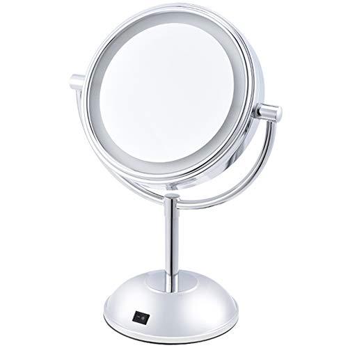 Tpys specchio per il trucco illuminato, luci a led a ingrandimento su un lato 360 rotazione a specchio da 7 pollici illuminato specchio per il trucco con luci a forma di tondo