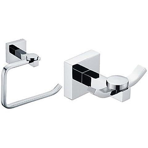 ZDQ- Latón cromado Acabado Conjuntos de baño accesorios (Incluye perchas, portarrollos de papel higiénico)